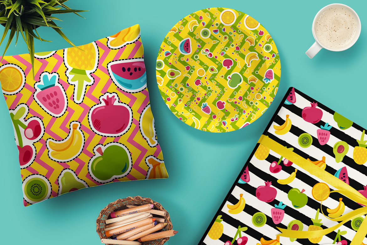 Happy Fruits Seamless Patterns example image 1