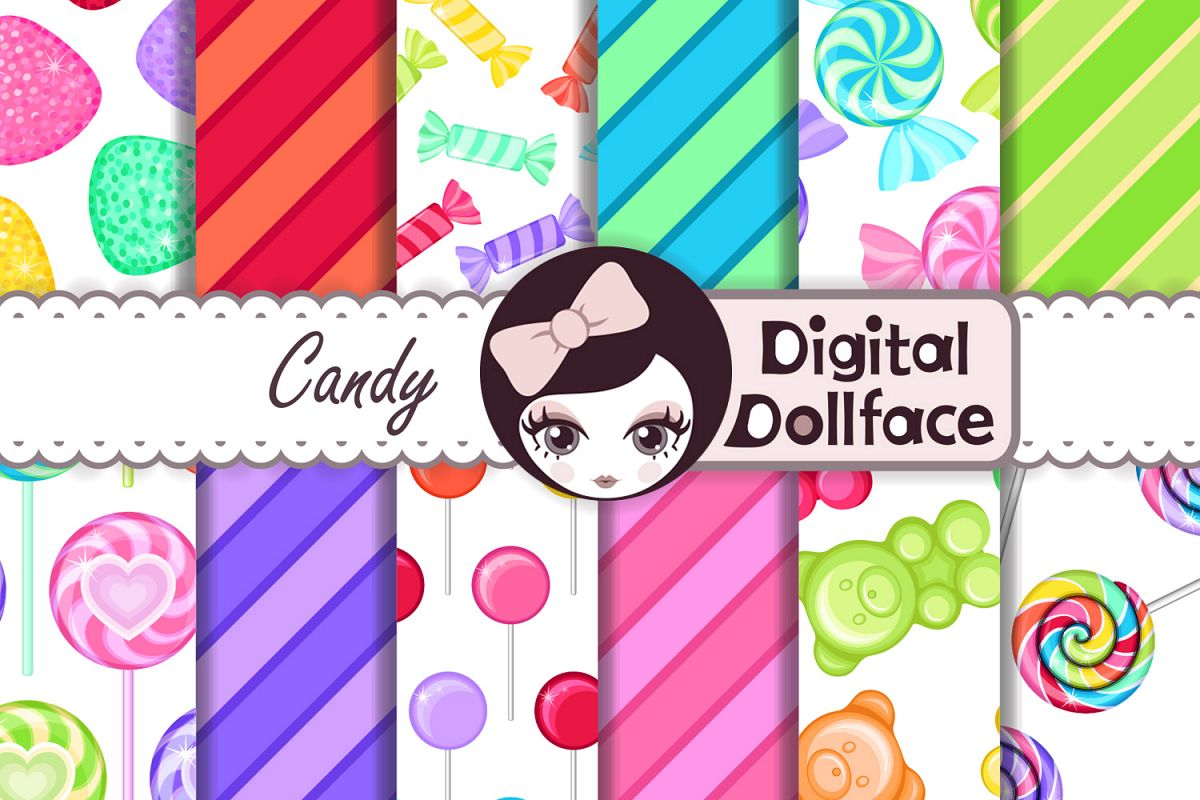 Rainbow Candy Digital Backgrounds / Candy Patterns  example image 1