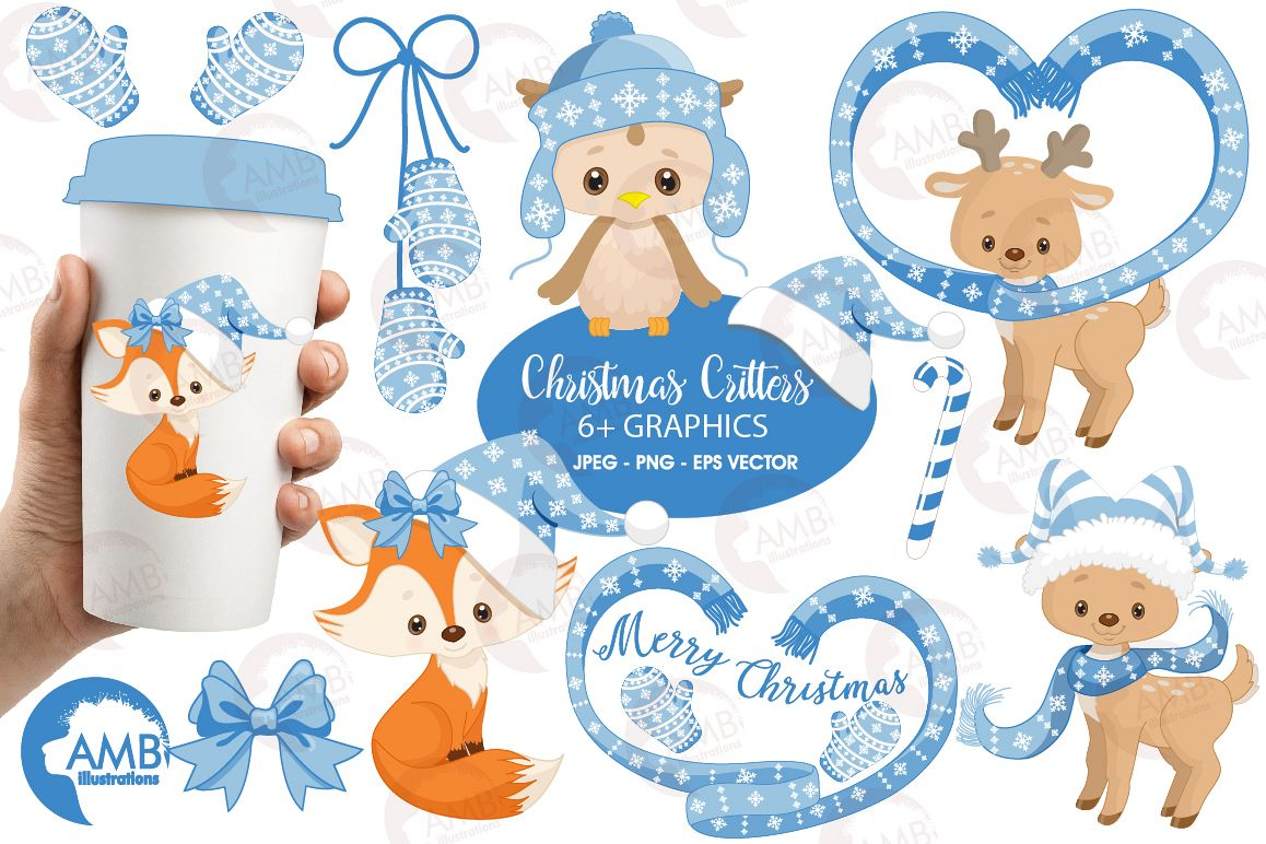 Christmas Forest critter Clipart, graphics, illustrations AMB-1515 example image 1