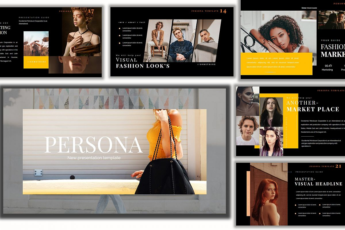 Pesona Dark Lookbook Keynote Template example image 1