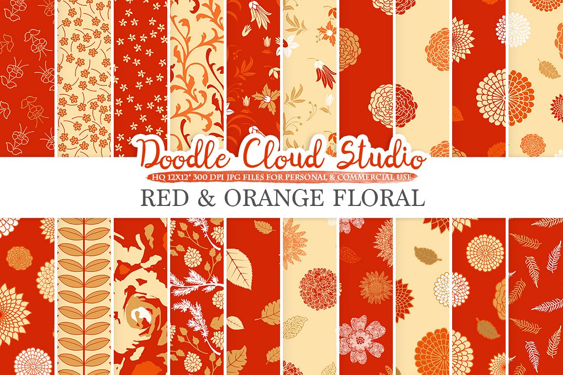 Red and Orange Floral digital paper, Red and Gold Floral patterns, Flowers Dhalia Leaves Damask Calico backgrounds Personal & Commercial Use example image 1