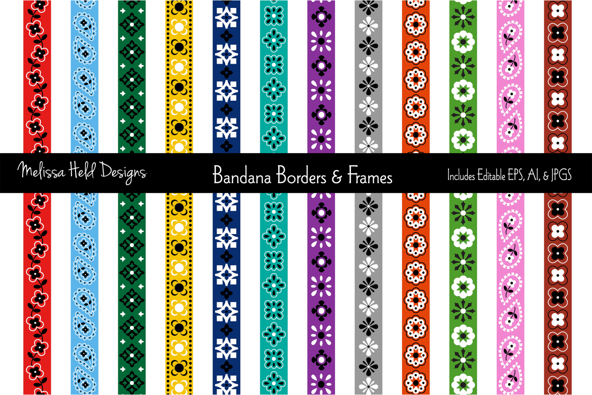 Bandana Border Patterns & Frames example image 1