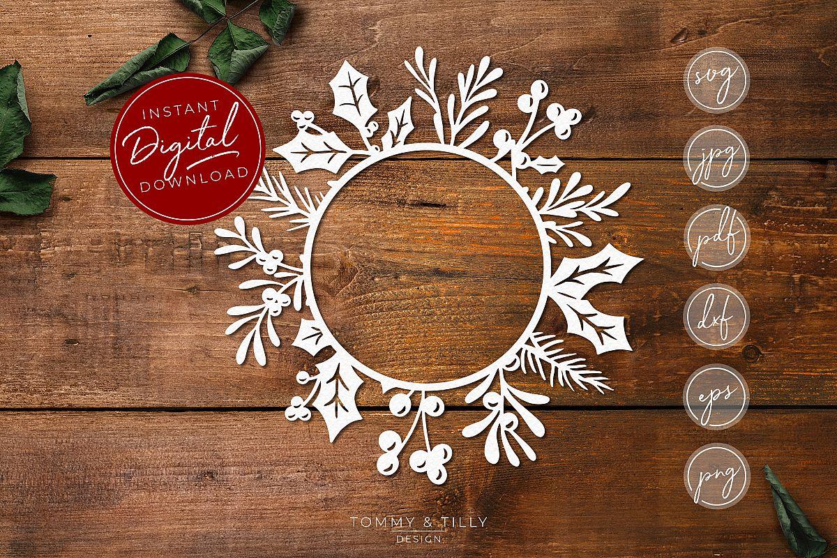 Monogram Christmas Wreath - SVG EPS DXF PNG PDF JPG Cut File example image 1