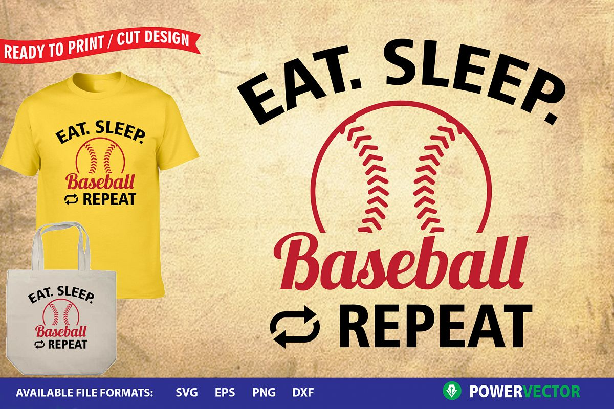 Eat Sleep Baseball   Sports Svg, Dxf, Eps, Print Cut files example image 1