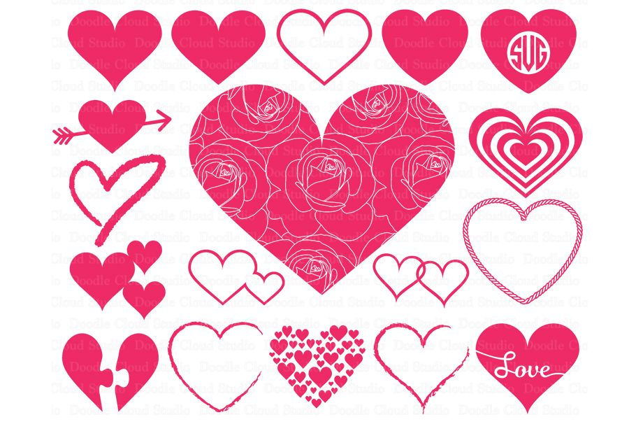 Heart Svg Heart Monogram Svg Files Valentine Day Svg