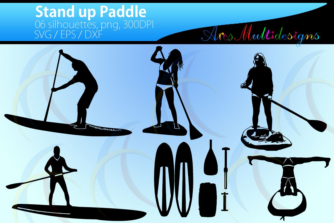 Stand up paddle svg / stand up paddle silhouette / High Quality / vector paddle silhouette / water silhouette / EPS / PNg / SVg / Dxf example image 1