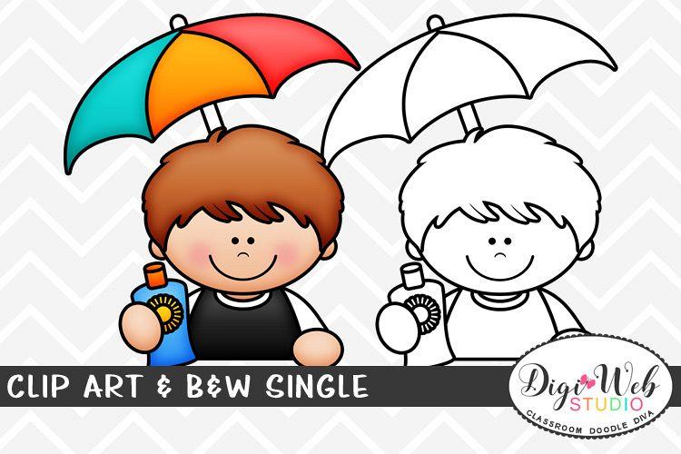 Clip Art & B&W Single - Summer Boy w/ Sunscreen & Umbrella example image 1