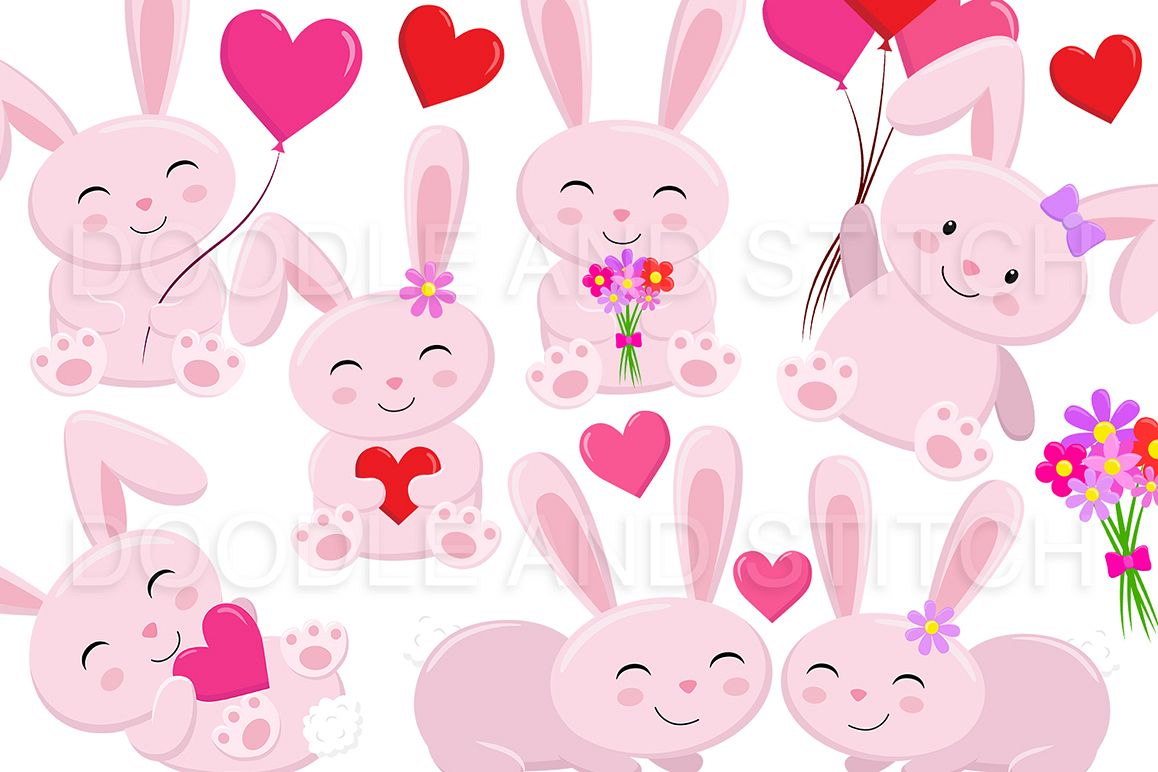 Love Bunny Clipart Illustrations example image 1
