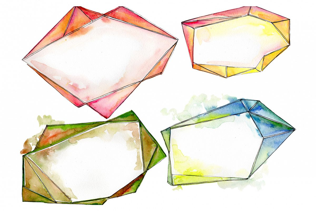 Tourmaline crystals Watercolor png example image 1