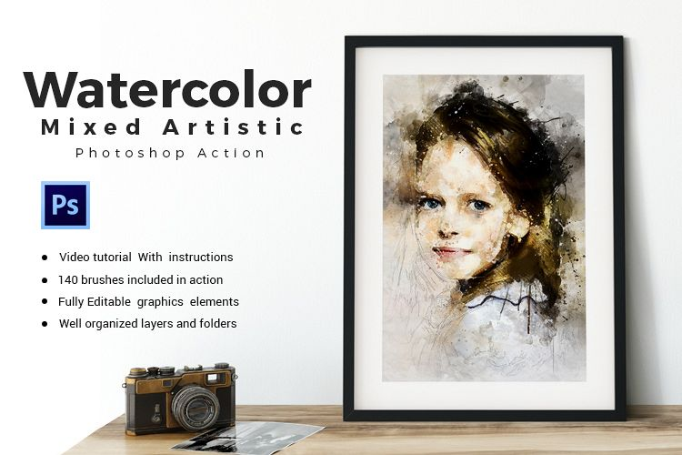 Watercolor Mixed Art Photoshop Action example image 1