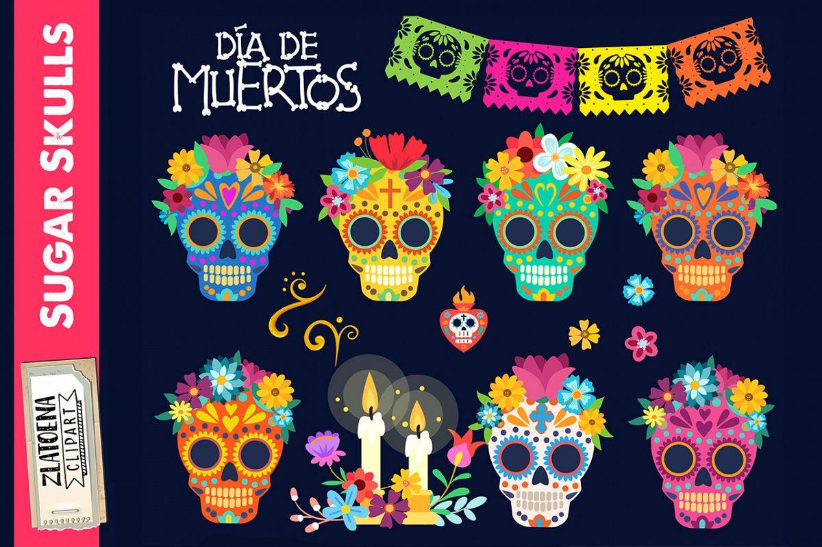 Sugar skull clipart Day of the dead clip art
