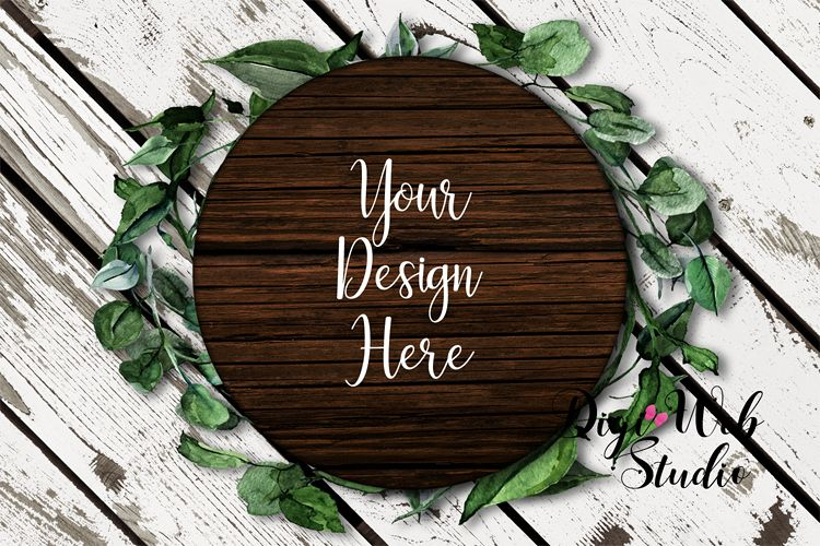 Flat Lay Wood Sign Mockup - Round Wood Sign on Leaf Wreath example image 1