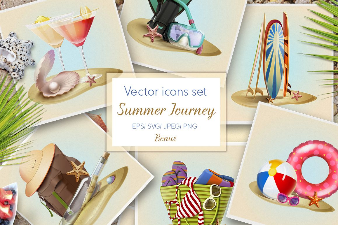 Summer icons vector set example image 1