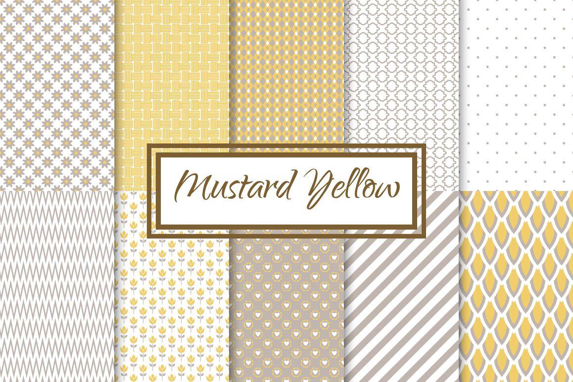 Mustard Yellow fine seamless patterns example image 1