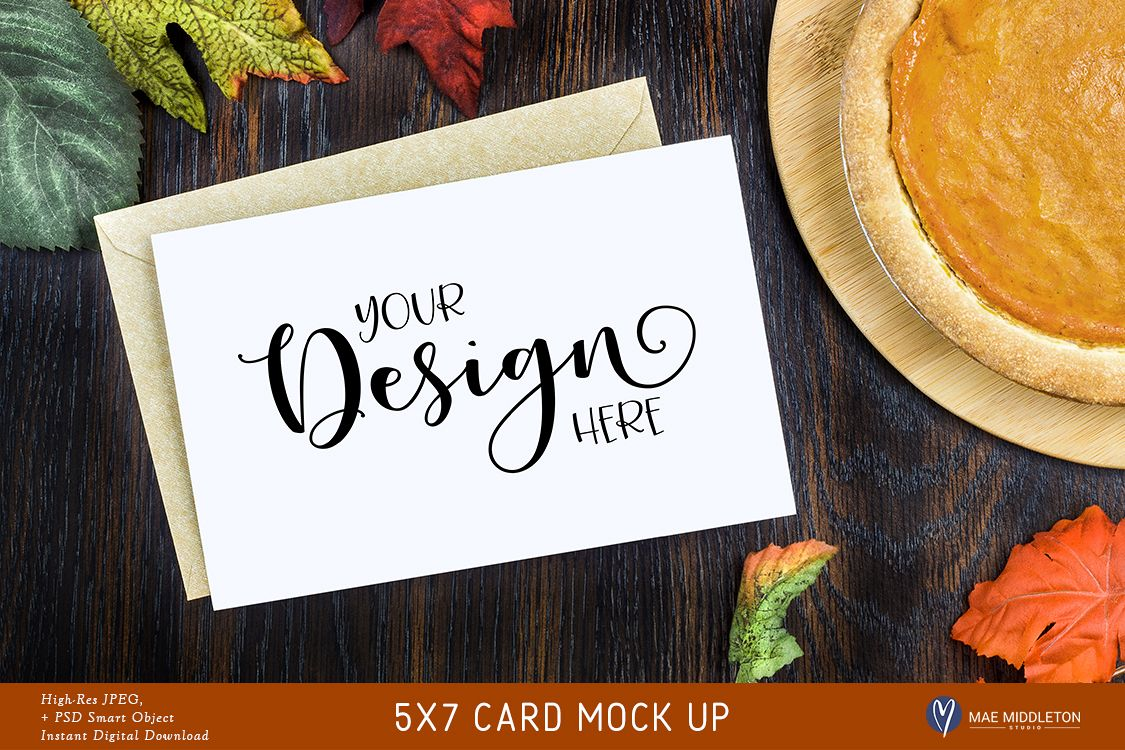 5x7 Card Mock up, Thanksgiving pumpkin pie styled photo example image 1