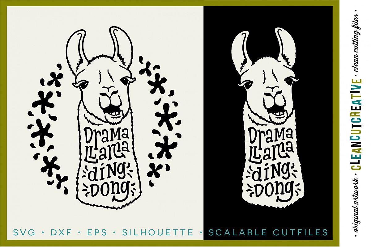 DRAMA LLAMA DING DONG - funny llama cutfile design - SVG DXF EPS PNG - Cricut & Silhouette - clean cutting files example image 1