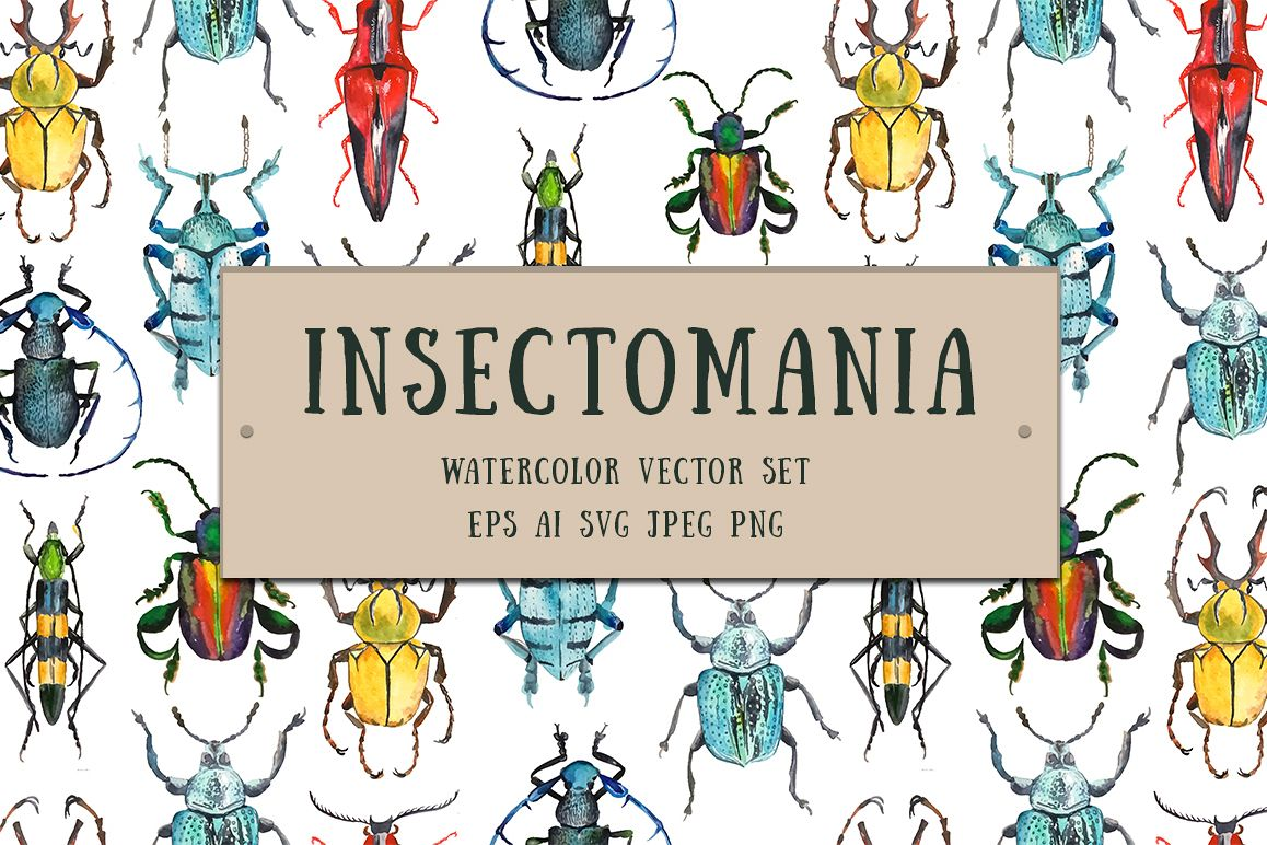 Insectomania - watercolor bugs example image 1