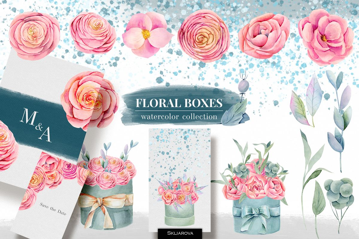 Floral boxes. Watercolor clipart. example image 1