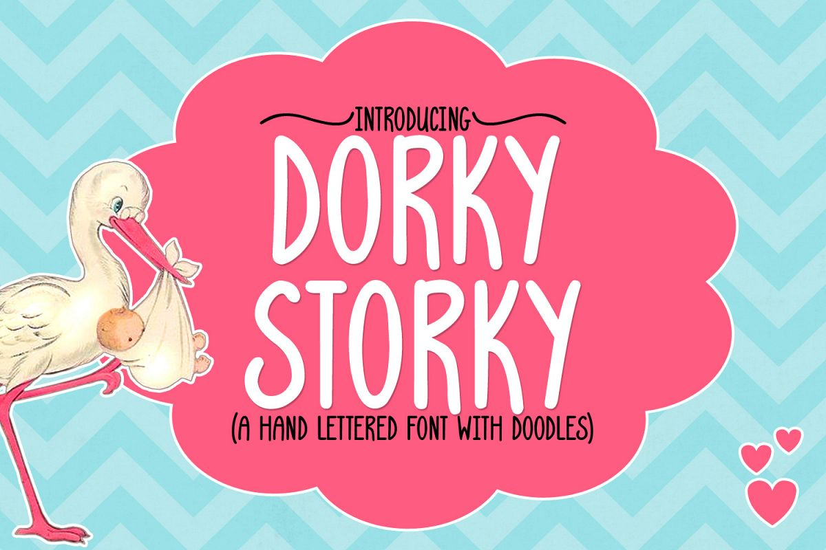 Dorky Storky - A Smooth Hand Lettered Font w/ Doodles by DWS example image 1