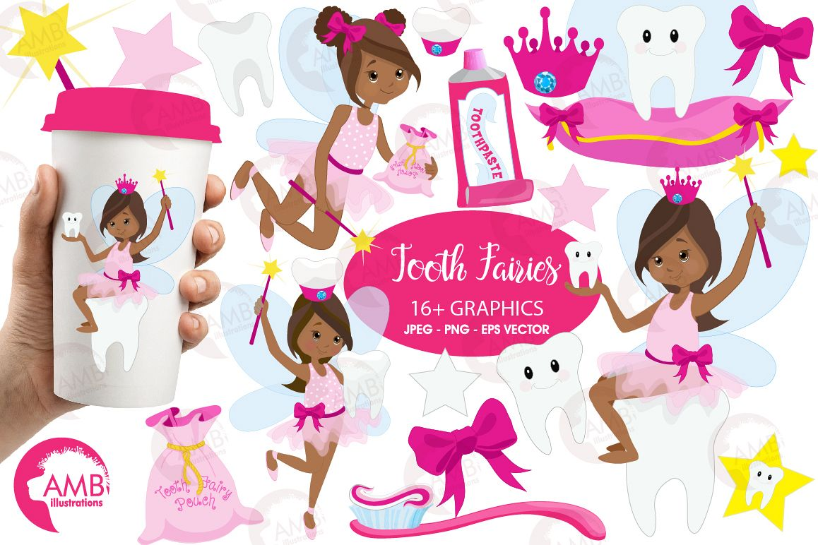 Fairy girls, Toothfairy girls clipart, graphics and illustrations AMB-1134 example image 1