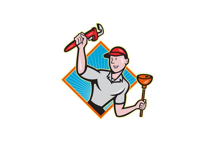 Plumber With Monkey Wrench And Plunger Cartoon example image 1