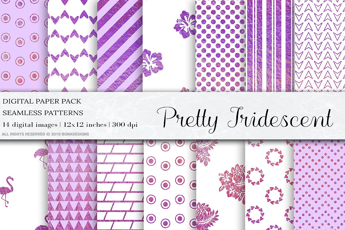 Pretty Iridescent Seamless Patters, Wedding invitation paper example image 1