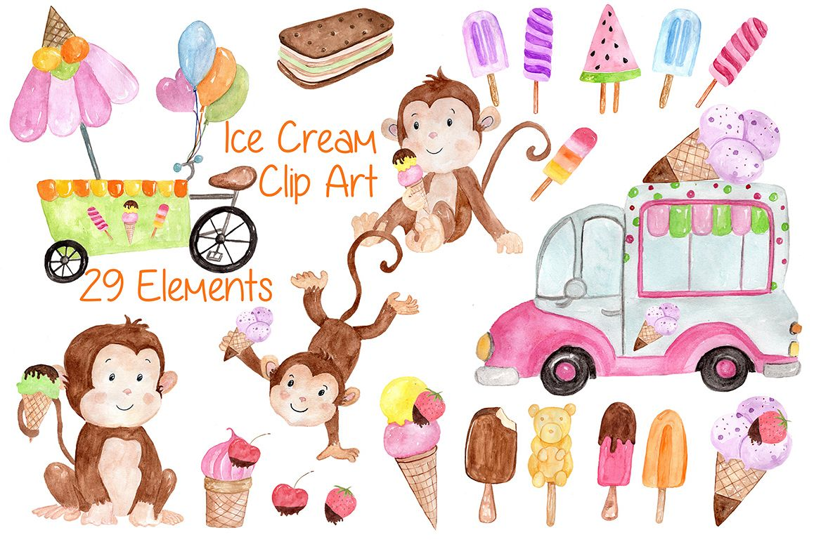 Watercolor Ice Cream clipart example image 1