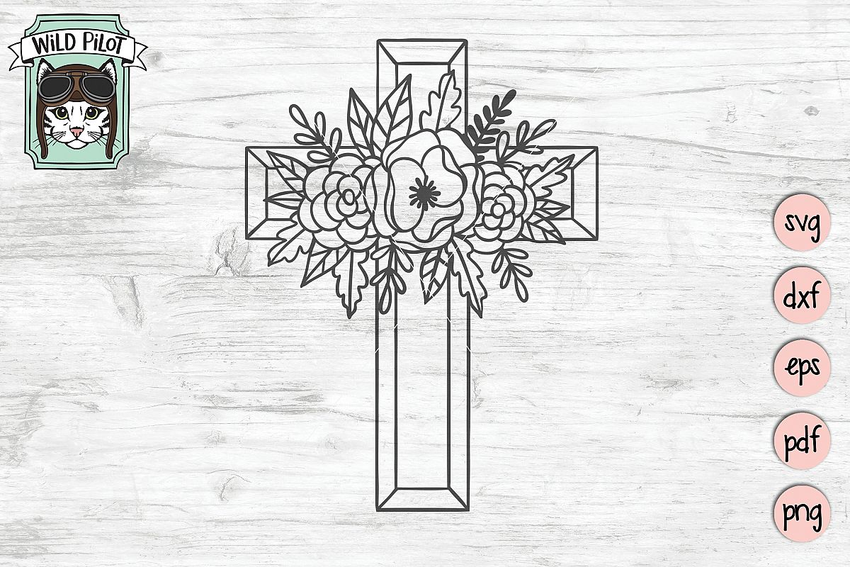 Flower Cross SVG file, Religious Cut File, Christian, Floral example image 1