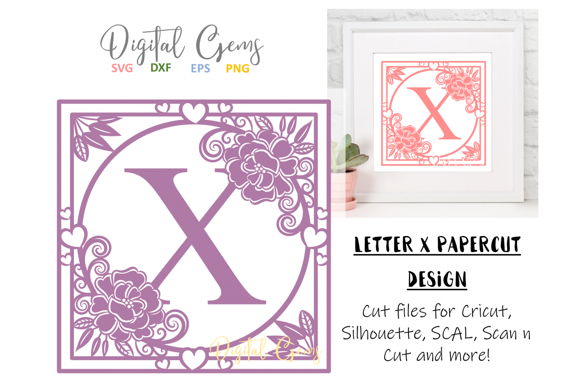 Letter X papercut design. SVG / DXF / EPS files example image 1