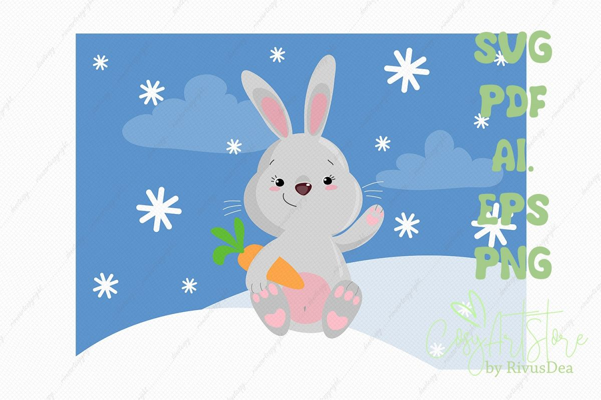 Cute bunny SVG download, bunny PNG, Grey rabbit with carrot example image 1