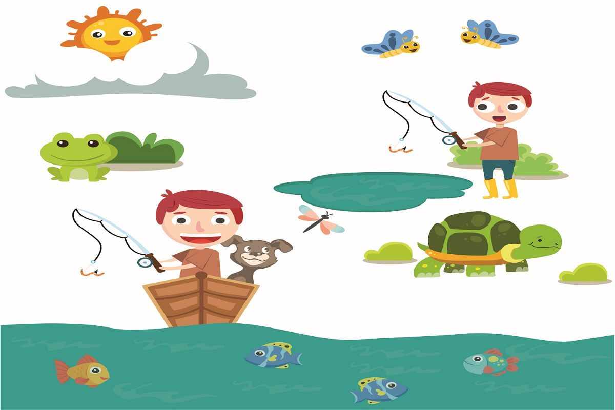 Boy Spring Fishing illustration Vector Pack example image 1