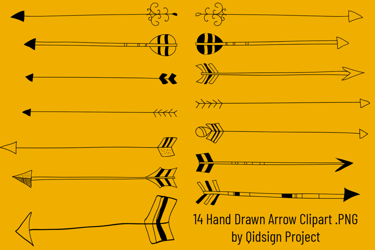 Hand Drawn Arrow Clipart PNG example image 1