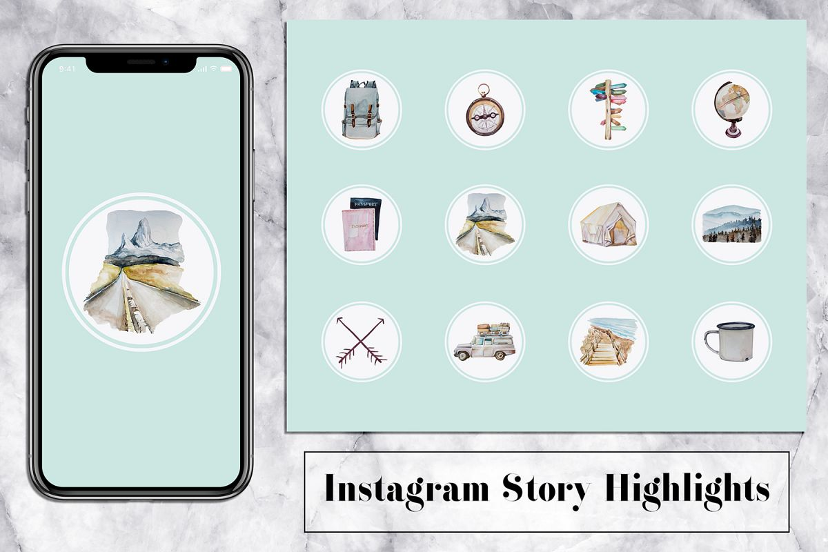 Trip Instagram Story Icons - Mint & Watercolor example image 1