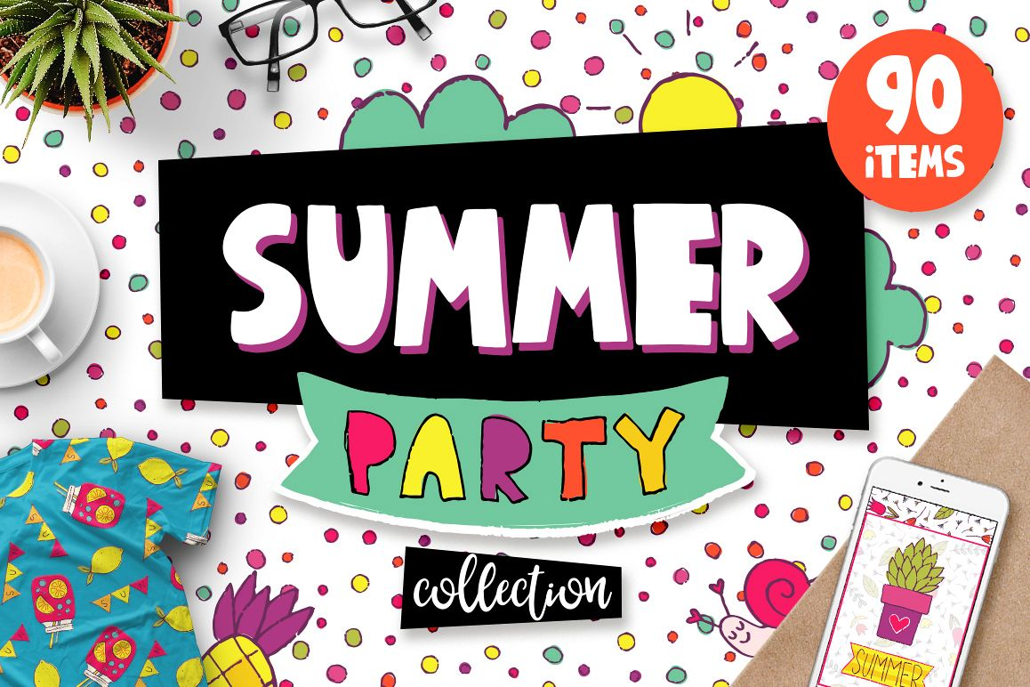 Summer Party - Clipart & Patterns example image 1