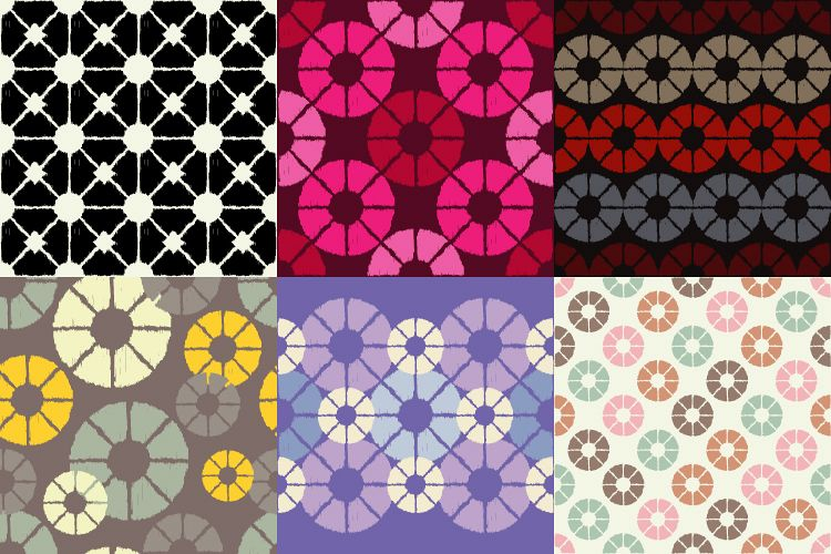 Set of 6 Polka dot seamless pattern. Scribble texture.  example image 1