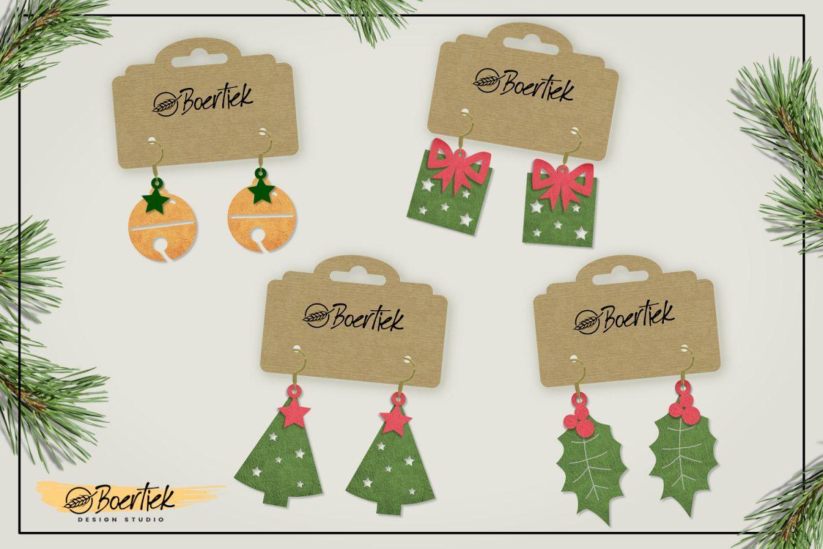 DIY Christmas earrings, SVG cutfile example image 1