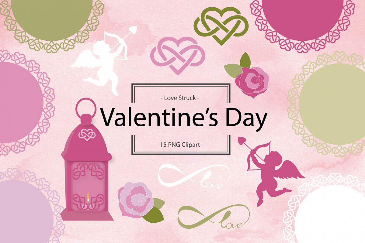 Cupid Valentine Clipart and Doilies example image 1