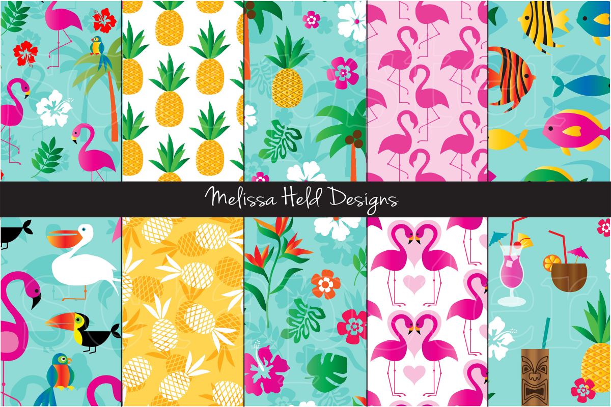 Flamingo & Pineapple Patterns example image 1