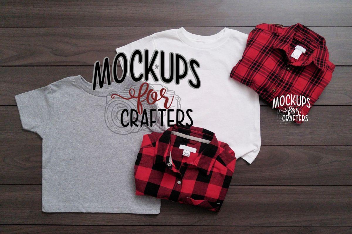 MOCK-UP - Child's Unisex Gildan Shirts - White & Gray example image 1