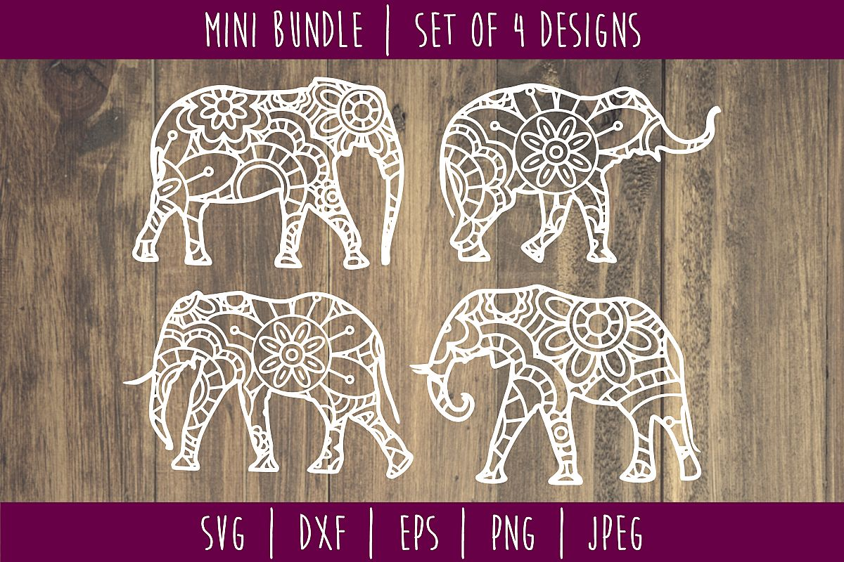 Elephant Mandala Zentangle Bundle Set of 4 - SVG example image 1