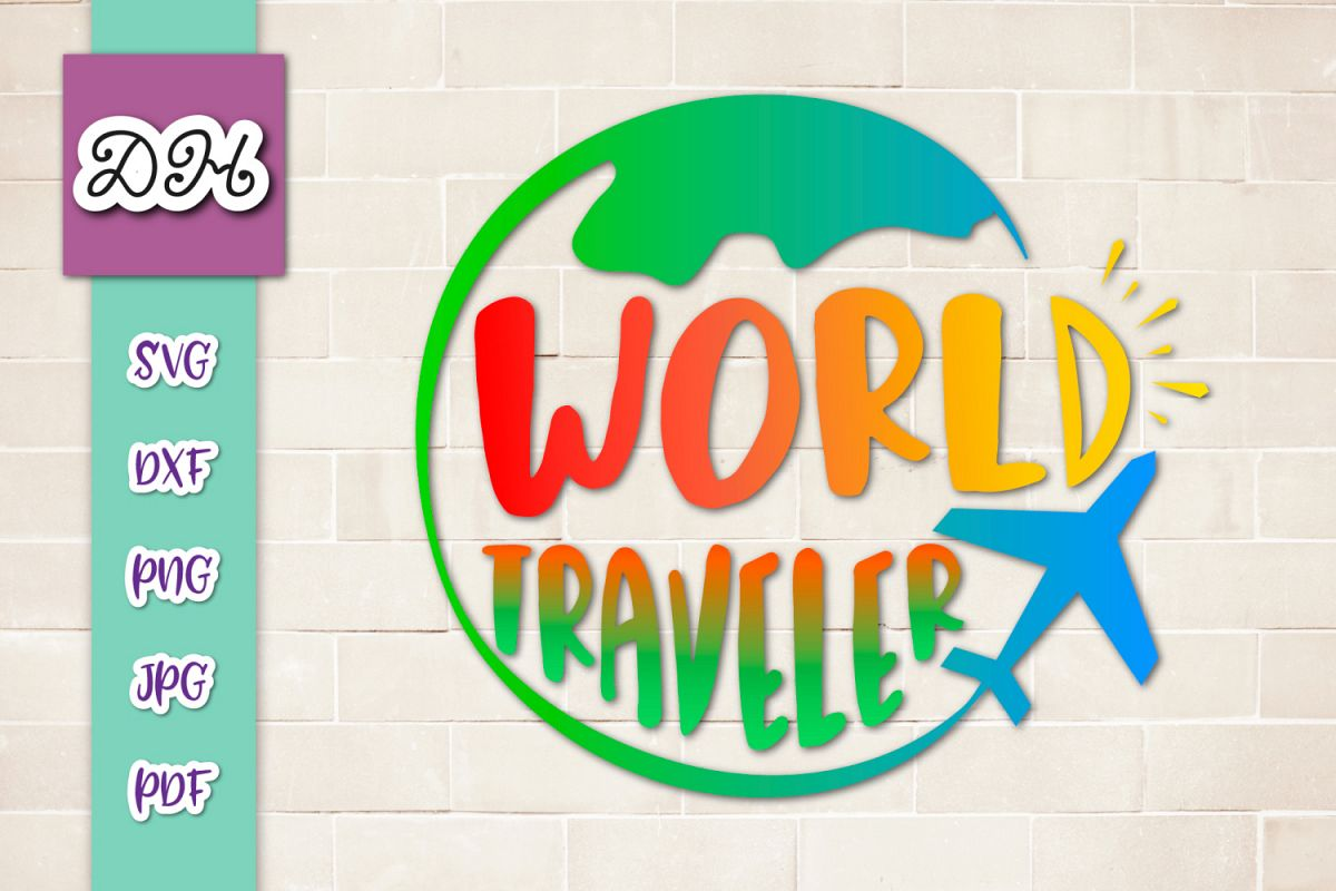 World Traveler Sign Print & Cut PNG SVG DXF PDF JPG Files example image 1