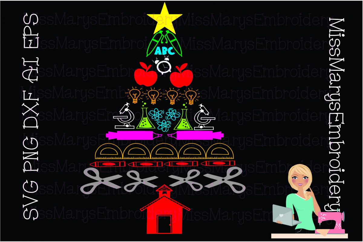 School Supply Christmas Tree SVG Cutting File PNG DXF EPS AI example image 1
