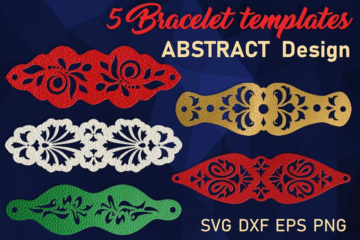 5 Leather Cuff Bracelet svg Jewelry template example image 1