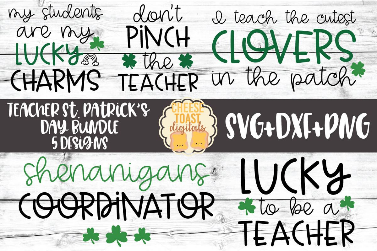 Teacher St Patrick's Day SVG Bundle - School SVG PNG DXF example image 1