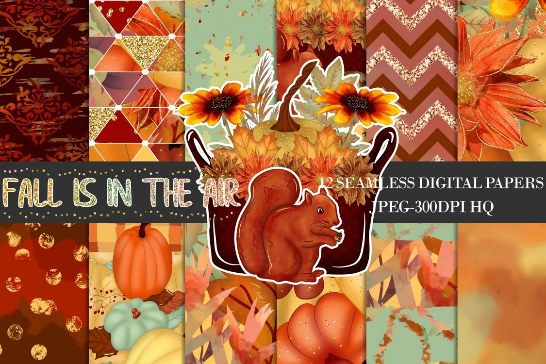 Fall Digital Papers, Autumn Backgrounds, Fall Patterns example image 1