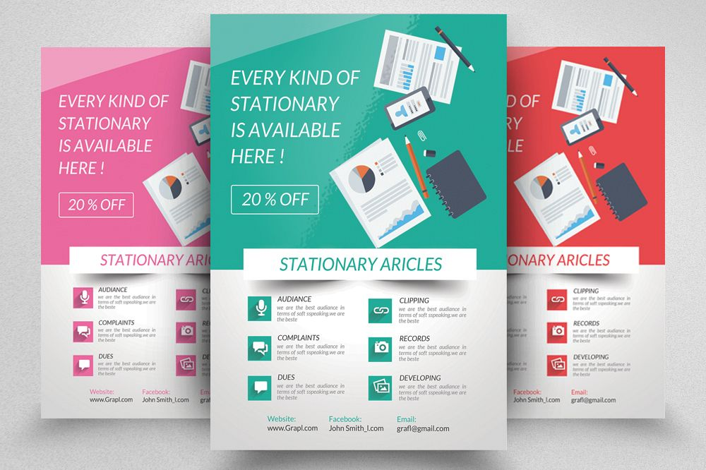 Stationary Store Promotional Flyer Template