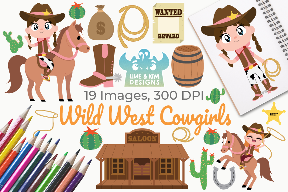 Wild West Cowgirls Clipart, Instant Download Vector Art example image 1