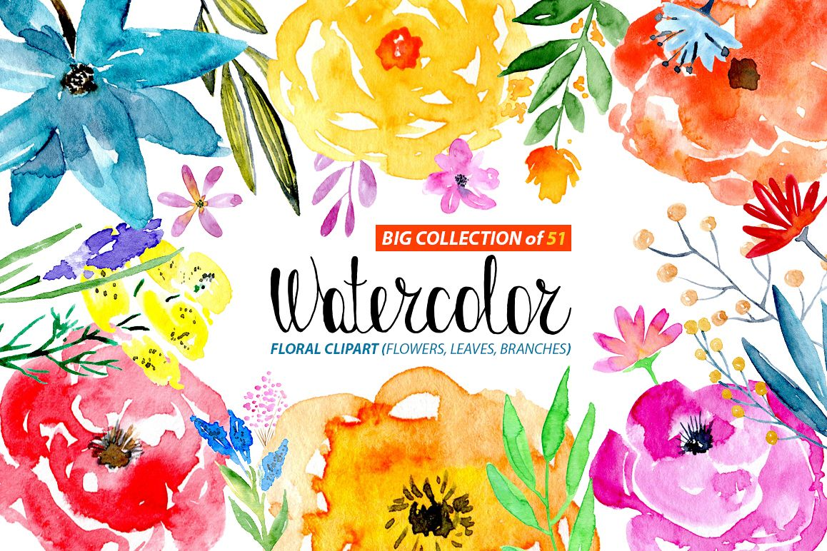 51 Watercolor floral elements png example image 1