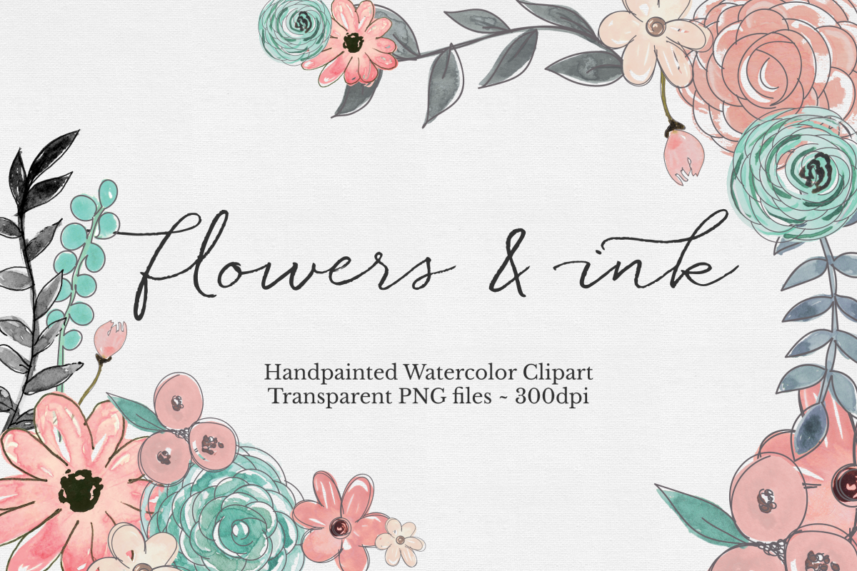 Watercolor & Ink Floral Clipart Set example image 1
