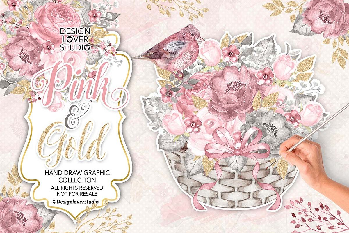Watercolor PINK and GOLD design example image 1
